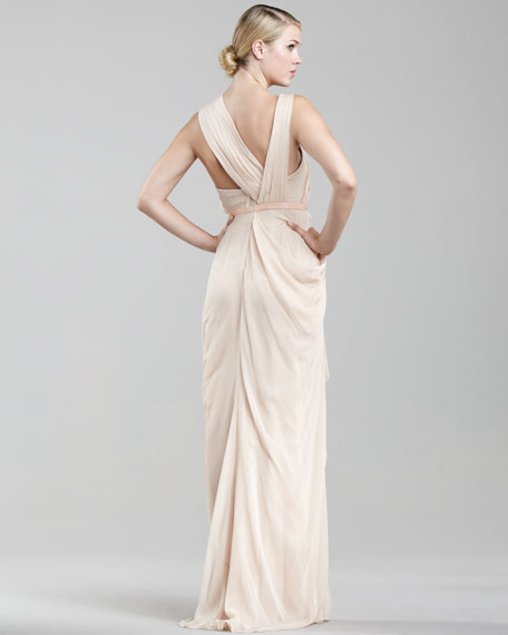 Asymmetric Chiffon Gown, Blush