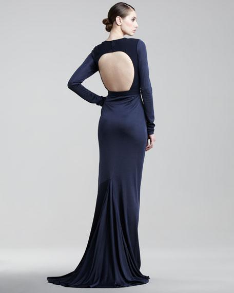 Open-Back Long-Sleeve Gown