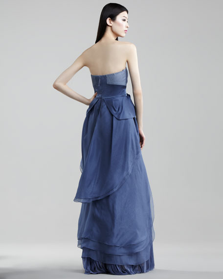 Pleated Organza Gown