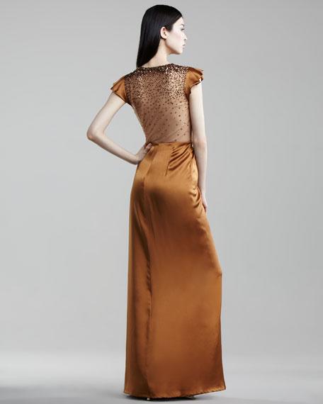 Beaded Gown, Burnt Orange