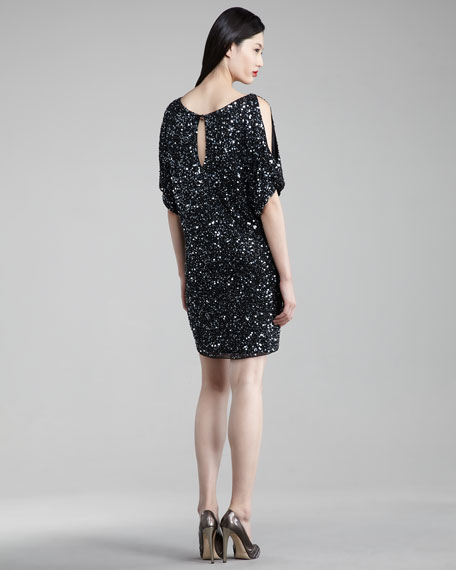 Cold-Shoulder Sequin Dress, Women's