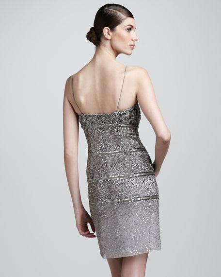 Sequin-Stripe Beaded Dress