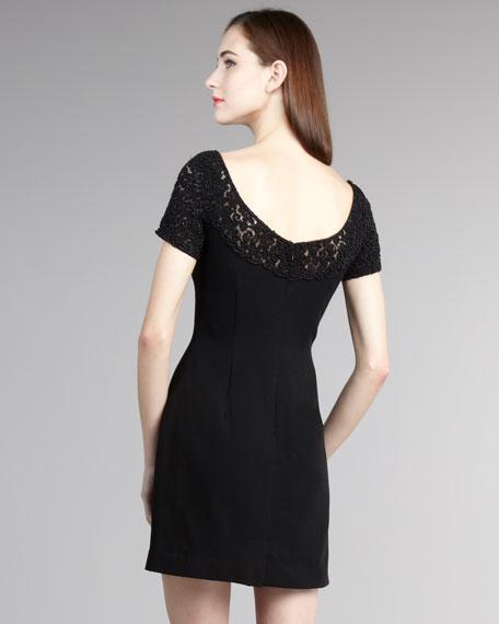 Beaded-Yoke Crepe Dress