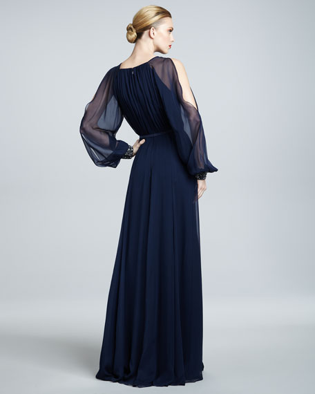 Illusion-Sleeve Gown