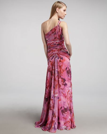 One-Shoulder Floral-Print Gown