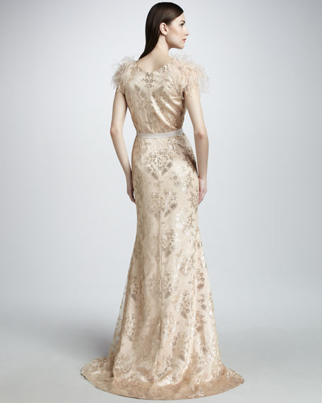 Feather-Sleeve Floral Gown