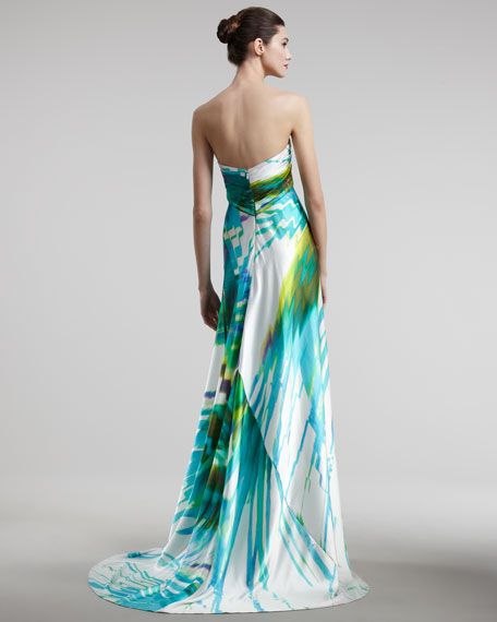 Digital-Print Strapless Gown