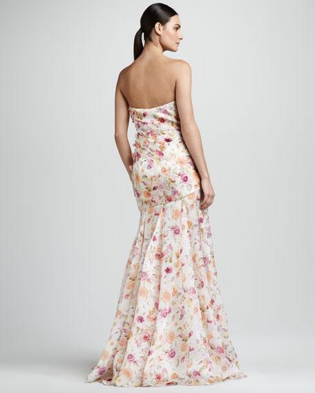 Floral-Print Organza Gown