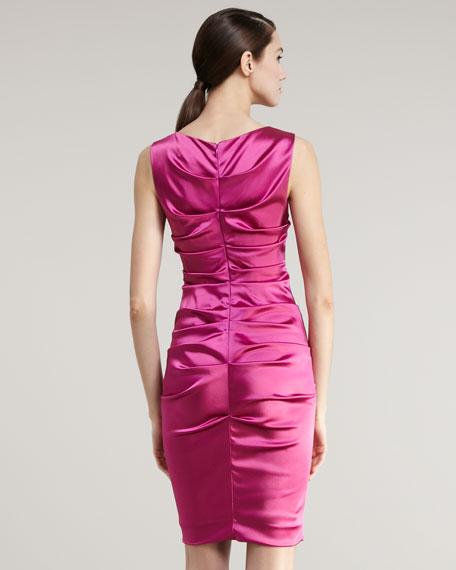 High-Neck Ruched Sheath Dress