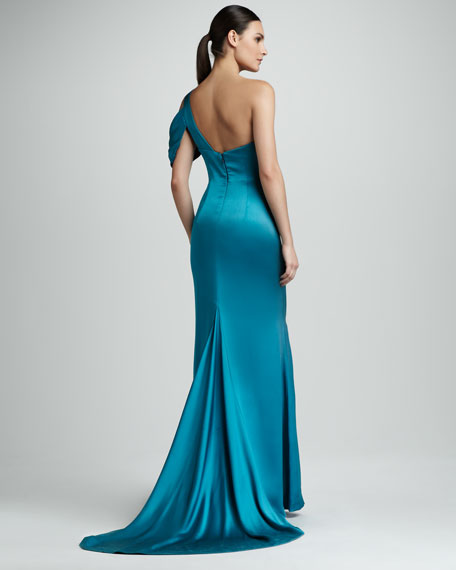 Cold-Shoulder Satin Gown
