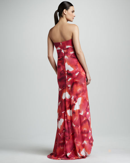 Watercolor-Print Georgette Gown