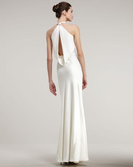 Cowl-Neck Tie-Waist Gown