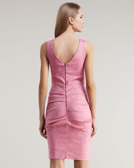 Chambray Stretch Cotton-Linen Dress