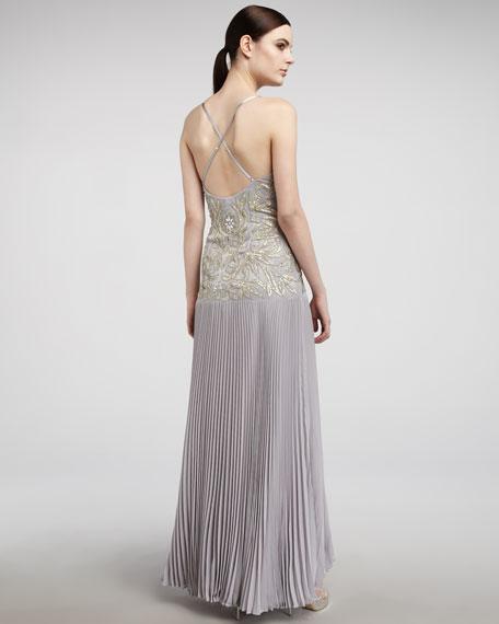 Drop-Waist Plisse Gown