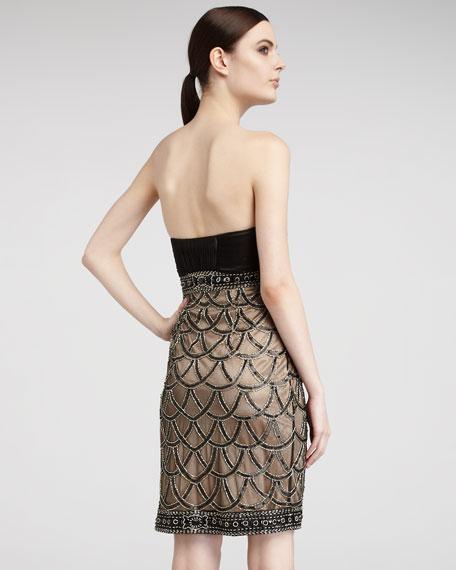 Beaded-Skirt Strapless Dress