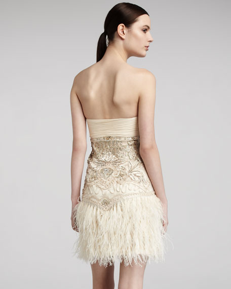 Strapless Feather-Detail Dress