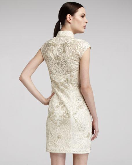 Mandarin-Collar Cap-Sleeve Dress
