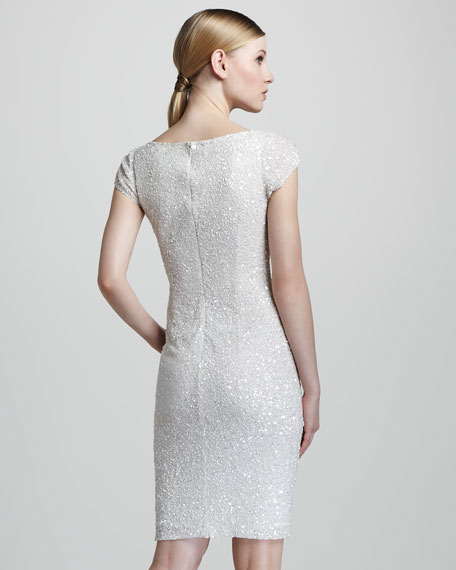 Cap-Sleeve Beaded Dress