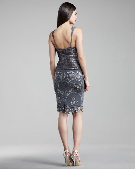 Deep-V Embroidered Dress