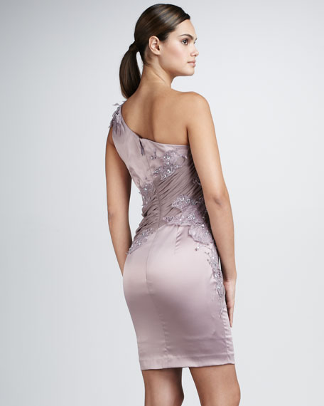 One-Shoulder Beaded Lace Dress