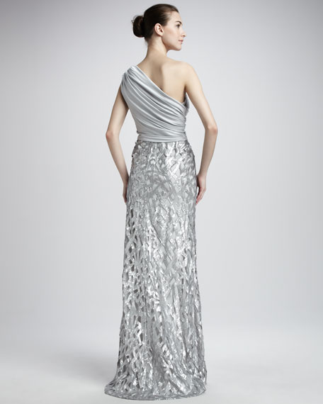 One-Shoulder Sequin Skirt Gown