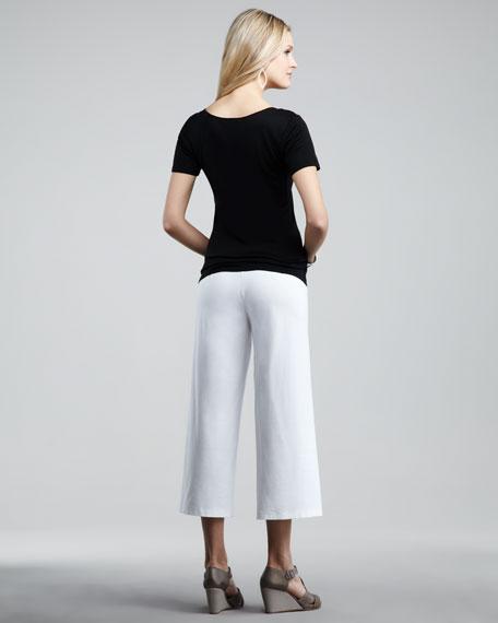 Washable-Crepe Cropped Pants