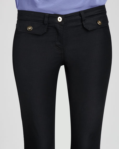 Cropped Twill Pants, Black