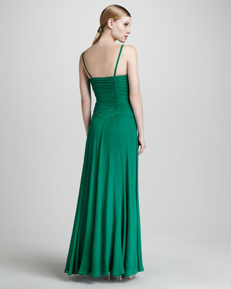 Pleated-Bodice Gown
