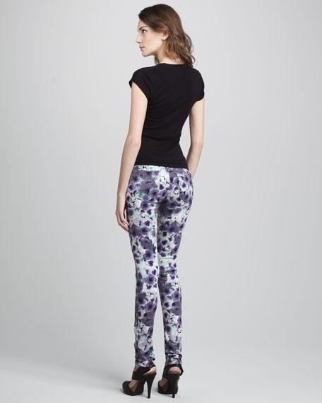 The Skinny Lilac Poppy-Print Jeans
