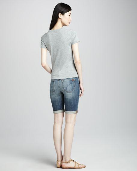 "Georgie Rolled Denim Bermuda Shorts, 10"" Inseam"