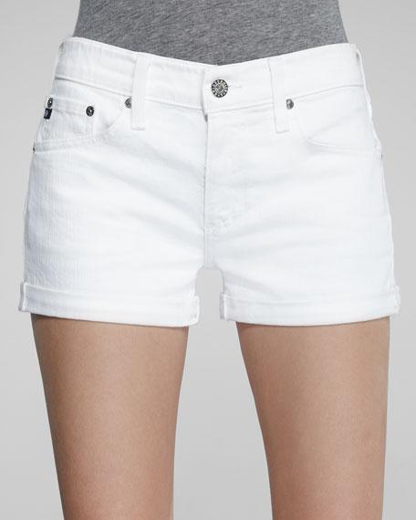 Pixie Optic White Roll-Up Shorts