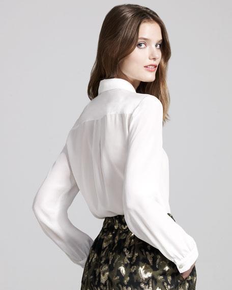 Sparkle-Placket Silk Shirt