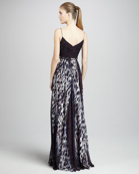 Olivia Animal-Print Silk Gown