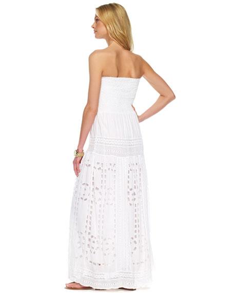 Smocked Eyelet Maxi Dress, White