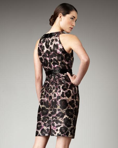 Animal-Print Sateen Dress