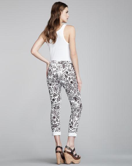 Floral-Print Skinny Jeans