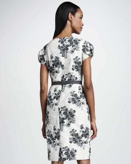 Floral-Print Jacquard Dress