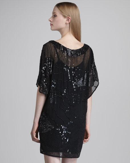 Mixed-Bead Blouson Dress