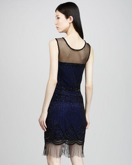 Illusion-Top Beaded Dress