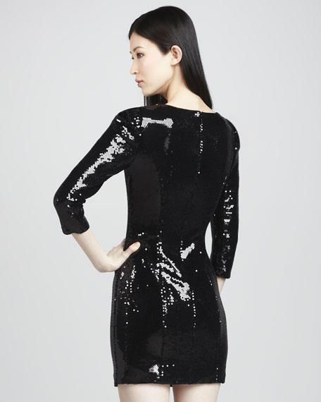 Three-Quarter-Sleeve Beaded Dress