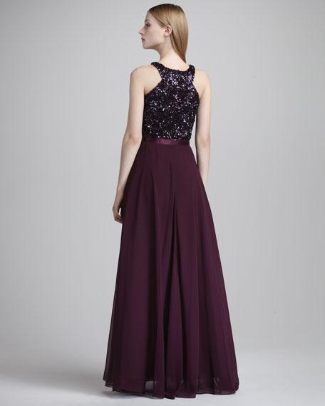 Sequin-Bodice Halter Gown