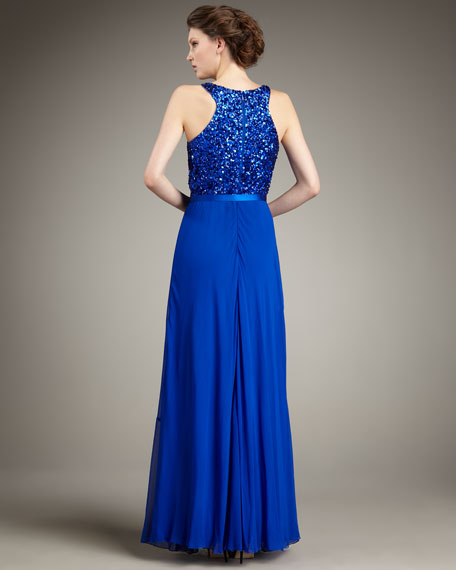 Sequined-Halter Belted Gown