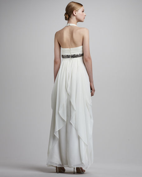 Bead-Waist Halter Gown