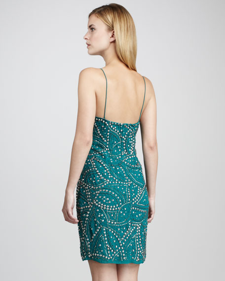 Studded Beaded Cocktail Dress