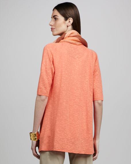 Linen Raglan-Sleeve Cardigan, Petite