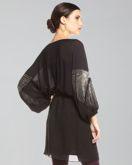 Silver-Beaded Dolman-Sleeve Dress