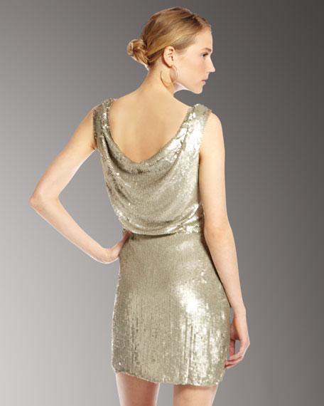 Sequined Drape-Neck Dress