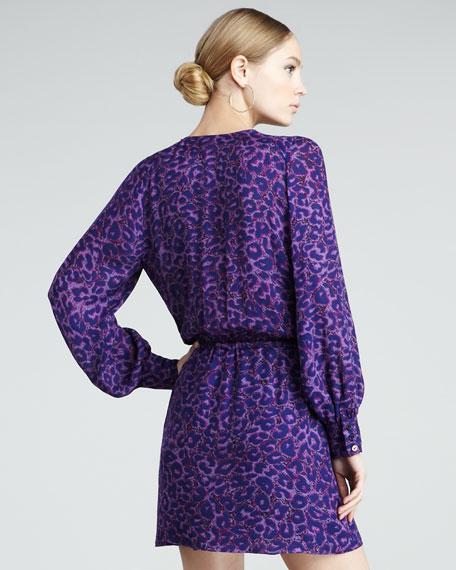 Animal-Print Faux-Wrap Dress