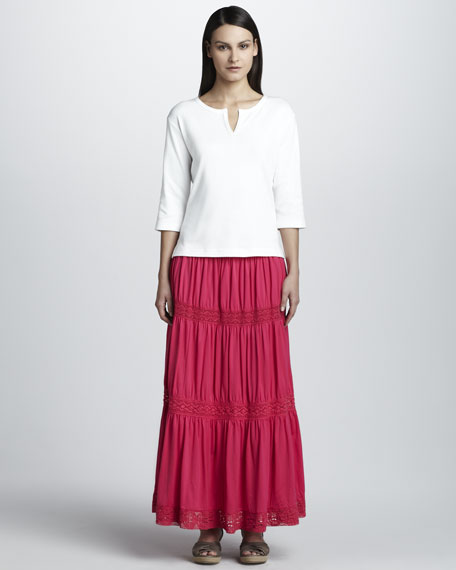Lace-Trim Tiered Maxi Skirt