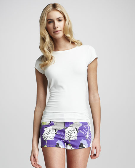 Violet Abstract-Print Shorts